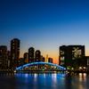 日没後に輝く桟橋