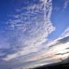 夕刻の空と雲と富士山