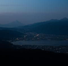 高ボッチ山頂より、富士を望む