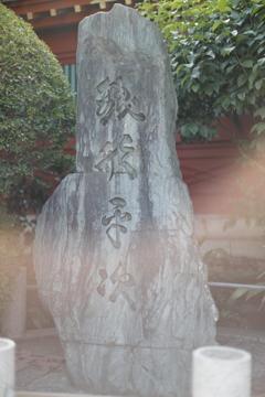 銭形平次の碑は怪しいリングに包まれていた。