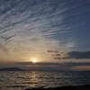 秋のサロマ湖の夕陽