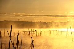 朝靄に煙る印旛沼1