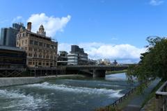 台風一過の暴れ川