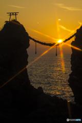 夫婦岩の夕日2