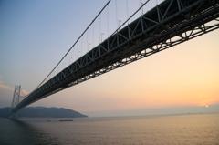 明石大橋と夕日