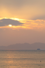 志賀島で夕焼け('14.2.1)-3