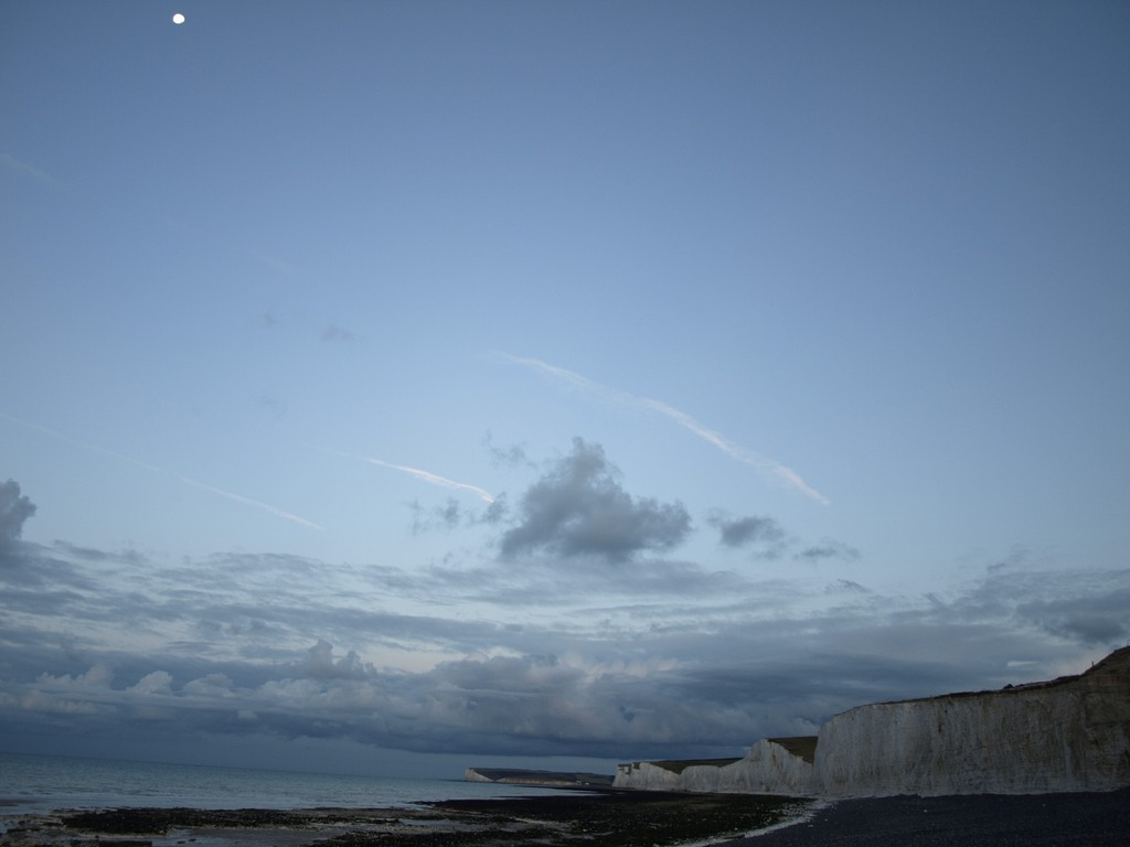 white cliff under the moonlight