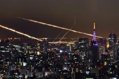 羽田空港の光跡
