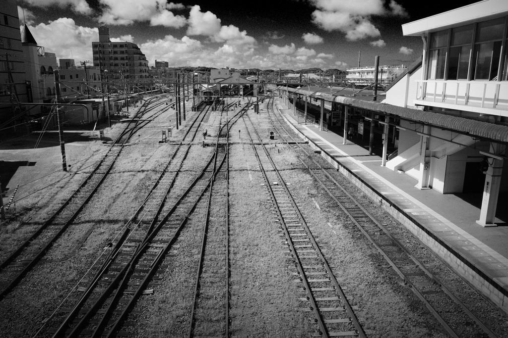 夏、駅にて。