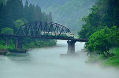 只見線、霧の第四橋梁 part2