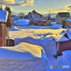 夕焼けの雪原