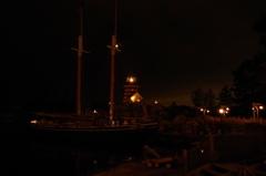 アメリカンウォーターフロントの夜 灯台
