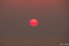 石狩湾に沈む太陽