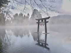金鱗湖に浮かぶ鳥居