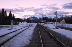 Sunset in Banff station