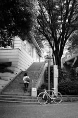 自転車と階段