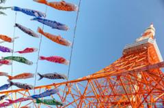 東京タワーの足元で