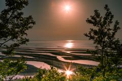 大分県真玉海岸の夕陽