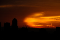 彗星のような夕焼け