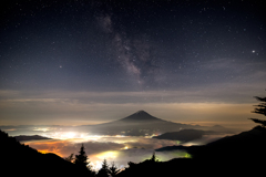 Milky way in the sea of clouds