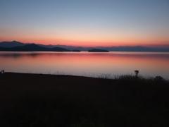 黄昏時のレインボー