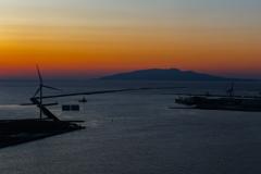 土崎港夕景 陽は沈み