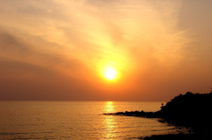 7号線の夕陽