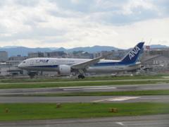 JAL  B787-8 福岡空港ランディング ①