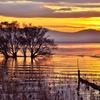 湖北冬の夕暮れ