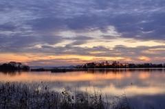 湖北、冬の夕空