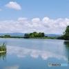 夏雲を映した前池@馬見丘陵公園