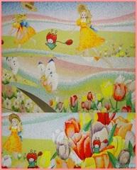 花ずきんちゃんとチューリップ