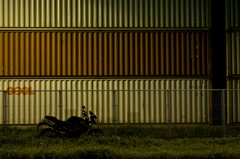 Container yard at night