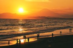 富士山が見える砂浜