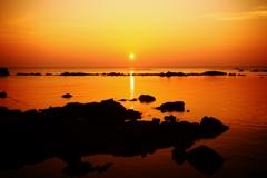 落陽  日本海は能登百浦海岸
