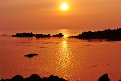 落陽 能登は赤住海岸