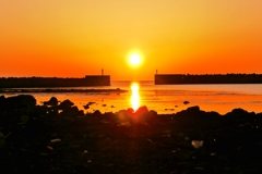 能登の夕景 赤住漁港