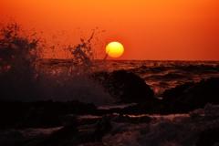 時化の有形能登は福浦海岸