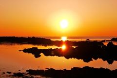 夕景 能登赤住海岸   太陽が一杯・・・☀
