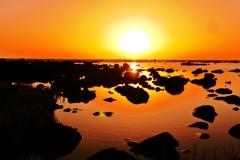 夕景 日本海 志賀海岸