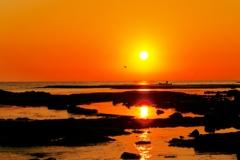 落陽 日本海 能登上野海岸