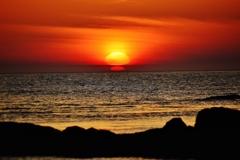 親子夕陽 能登 小浦海岸