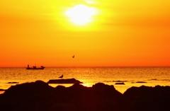 夕景  帰港と帰巣 能登上野海岸