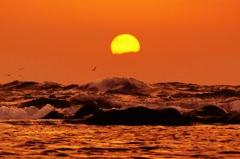 初冬の夕景 日本海は能登