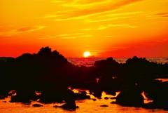 落陽 能登の海