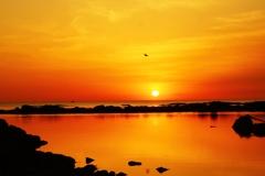 落陽 能登上野海岸