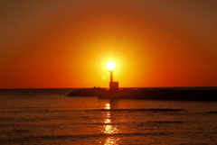落陽 日本海は能登は上野漁港