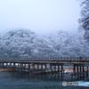 雪化粧の嵐山