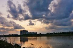 相模川の夕焼け
