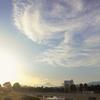 夕陽とグルグル雲
